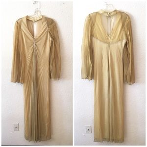 Vintage Metallic Gold Pleated Disco Holiday Dress